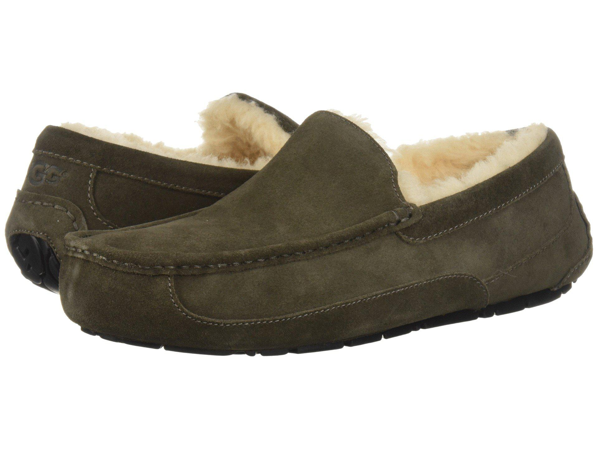 Men UGG Ascot Suede Slipper Size 9 M Moss Green Suede