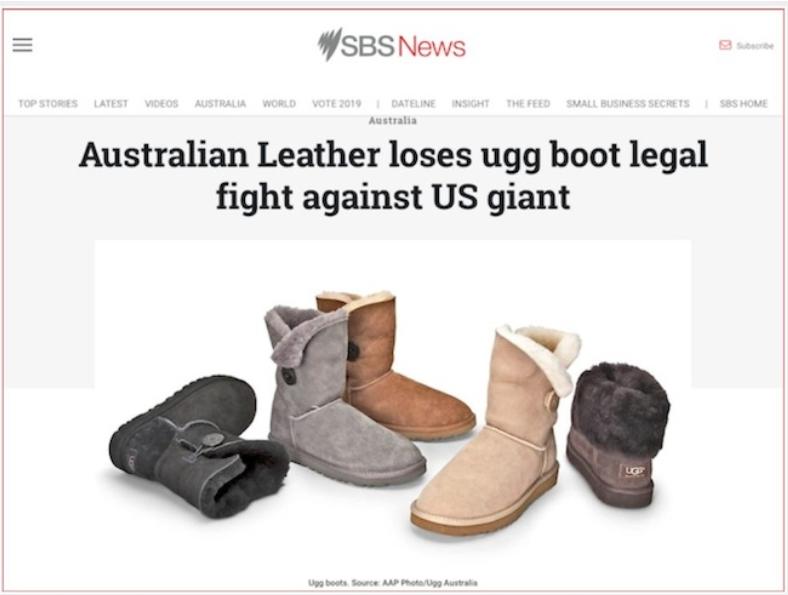 บริษัทรองเท้า ugg boot ออสซี่แพ้คดีเครื่องหมายการค้าต่อบริษัทยักษ์ใหญ่ในสหรัฐ